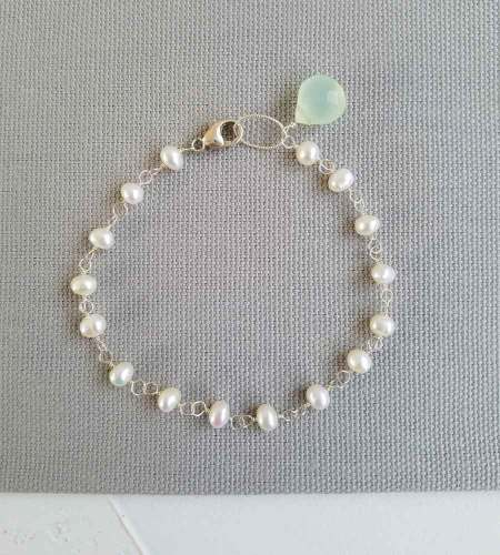 Freshwater pearl chain bracelet with aqua accent handmade by Carrie Whelan Designs