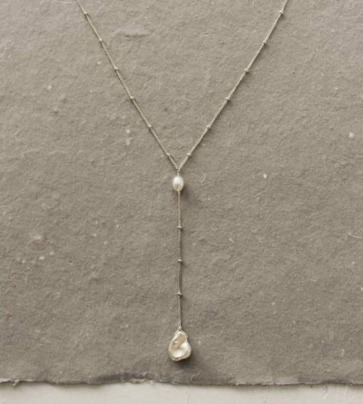 Keshi pearl silver Y necklace handmade by Carrie Whelan Designs