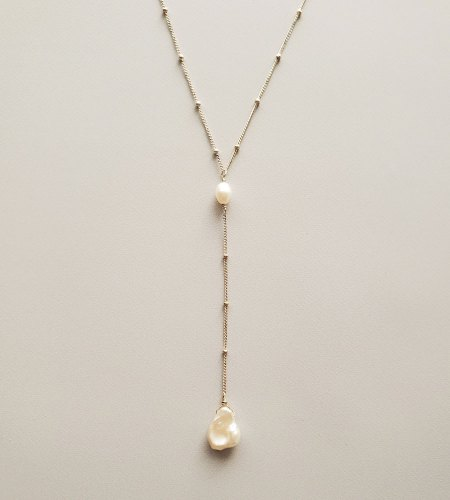 Keshi pearl silver lariat necklace handmade by Carrie Whelan Designs