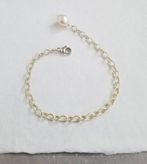 Pearl accented silver chain bracelet handmade by Carrie Whelan Designs