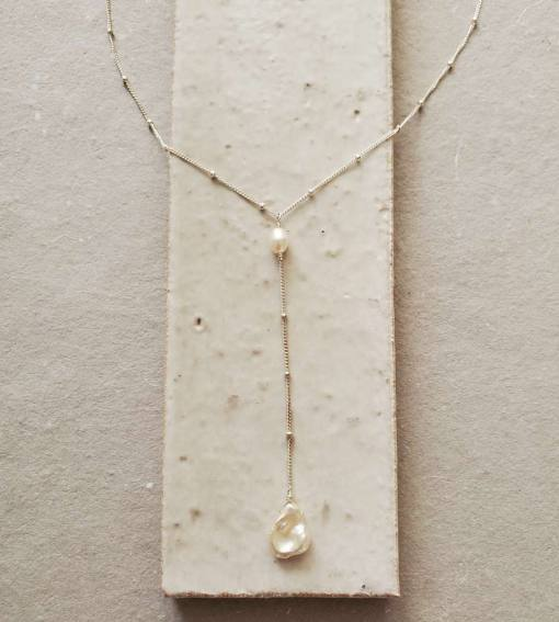 Keshi pearl Y necklace handmade by Carrie Whelan Designs