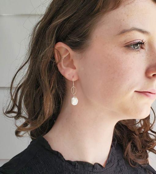 Keshi pearl drop earrings handmade by Carrie Whelan Designs