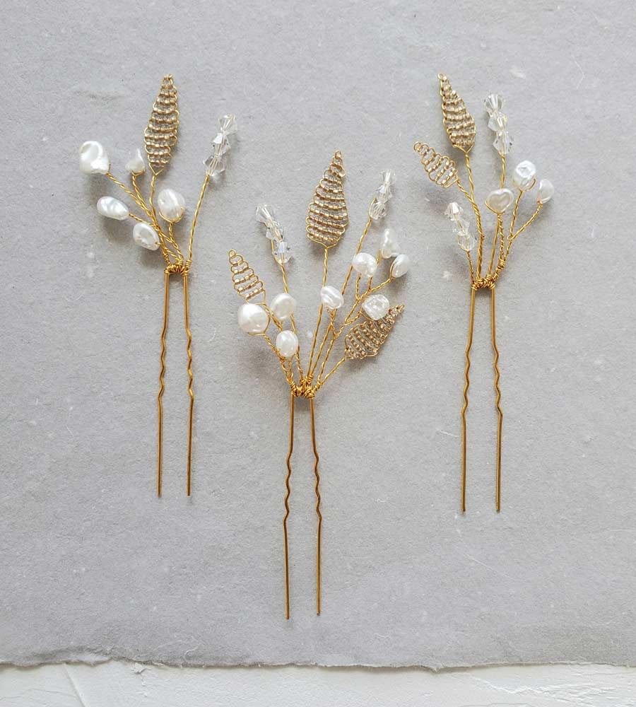 Gold leaf & pearl bridal hair pin set for a bride by Carrie Whelan Designs