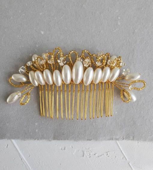 Handmade vintage crystal & pearl bridal hair comb by Carrie Whelan Designs