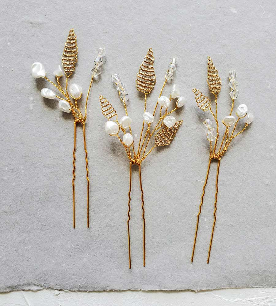 Romantic pearl floral hair pin set in gold hair pin set for bride by Carrie Whelan Designs