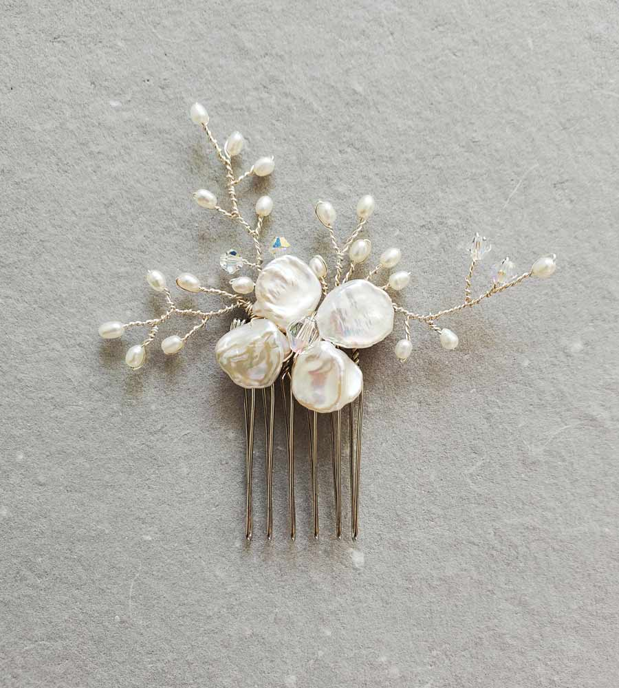 Keshi pearl bridal hair comb in silver handmade by Carrie Whelan Designs