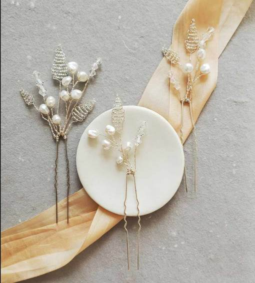Keshi pearl and silver leaves bridal hair pin set handmade by Carrie Whelan Designs