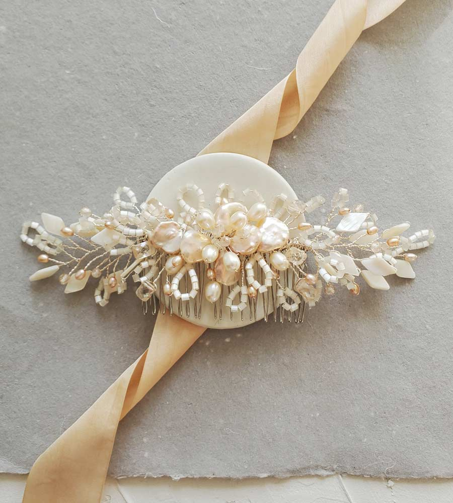 Peach keshi pearl bridal hair comb handcrafted by Carrie Whelan Designs