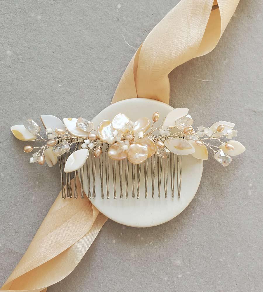 Peach pearl floral hair comb for bride handmade by Carrie Whelan Designs