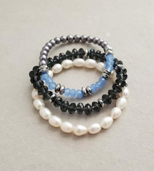 Navy and pearl stack bracelet set handmade by Carrie Whelan Designs
