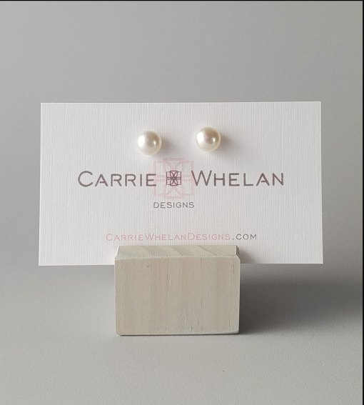 Dainty freshwater pearl studs in sterling silver handmade by Carrie Whelan Designs