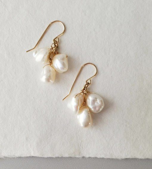 Handcrafted Short keshi pearl cluster earrings in 14kt gold by Carrie Whelan Designs