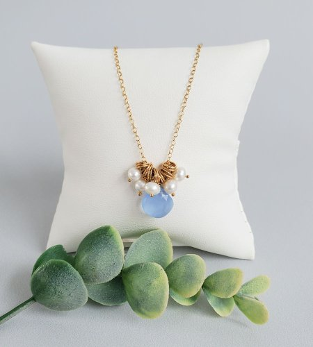 Blue gemstone and pearl cluster pendant in 14kt gold fill Carrie Whelan Designs