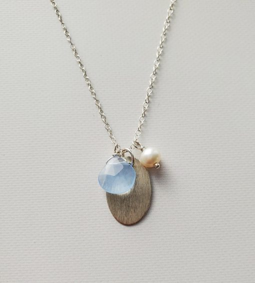 Brushed oval cluster necklace handmade by Carrie Whelan Designs