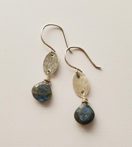 Brushed silver oval & labradorite earrings handmade by Carrie Whelan Designs