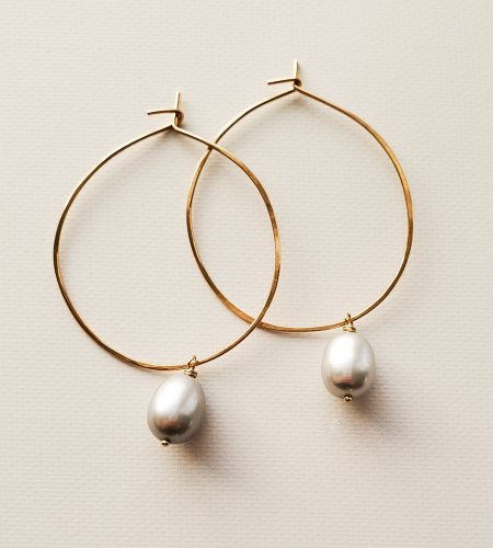 Gray freshwater pearl hoops handmade by Carrie Whelan Designs