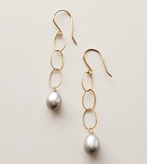 Gray pearl and chain earrings handmade by Carrie Whelan Designs