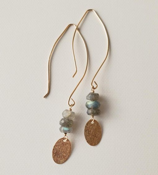 Long dangle labradorite and gold charm earrings handmade by Carrie Whelan Designs