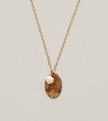 Textured Gold oval & freshwater pearl pendant handmade by Carrie Whelan Designs