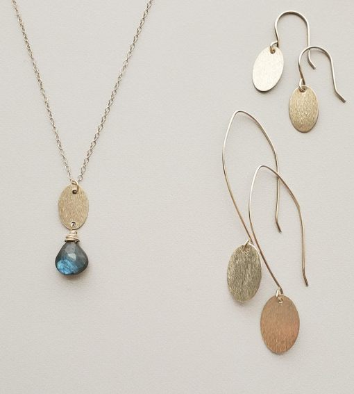 Brushed sterling silver and labradorite jewelry handcrafted by Carrie Whelan Designs
