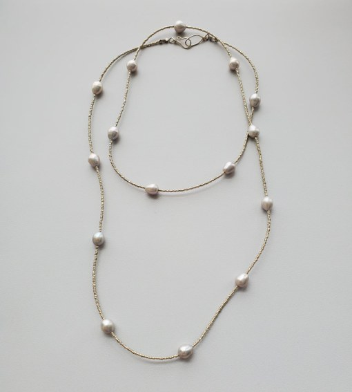 Long gray freshwater pearl silver necklace handmade by Carrie Whelan Designs