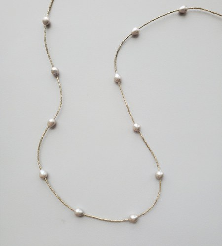 Long gray pearl and silver bead necklace handmade by Carrie Whelan Designs
