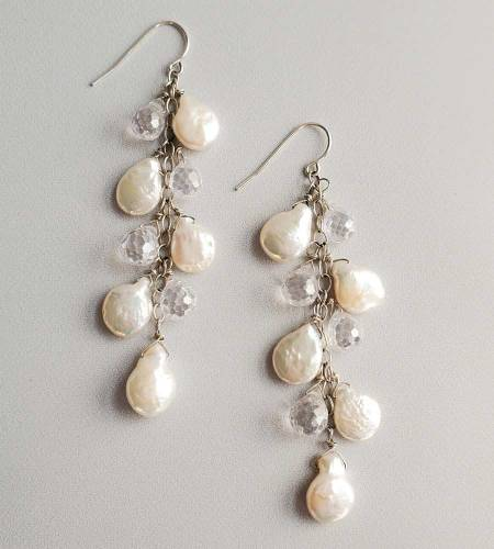 Coin pearl and crystal cascade earrings for bride by Carrie Whelan Designs