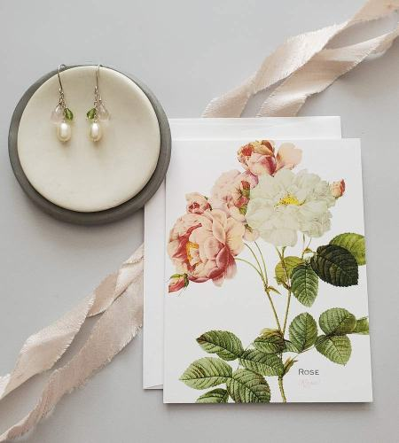 Pearl, peridot & rose quartz earrings for earring subscription with note card by Carrie Whelan Designs