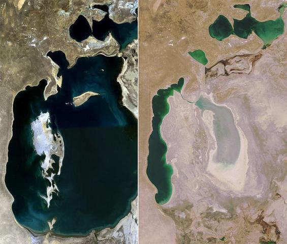 Vista satélite del Mar de Aral en 1989 y 2008