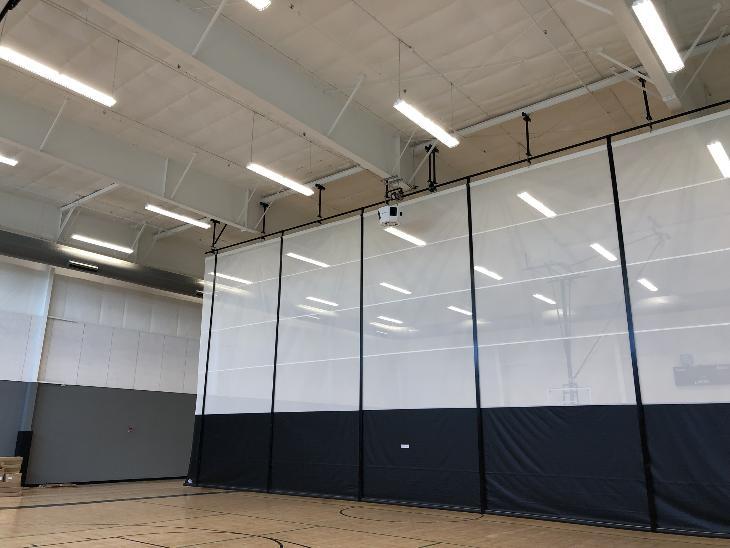 gym divider curtains bleachers