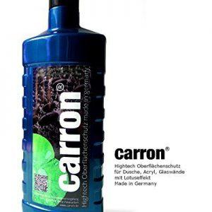 carron® Lotuseffekt Versiegelung Dusche Duschwand Glas Acryl gegen Kalk + Aktion: Microfaser-Poliertuch gratis dabei. Auch für Versiegelung von Badewannen.
