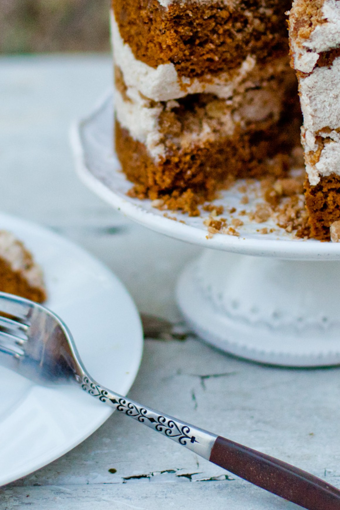 The most INCREDIBLE Fall Dessert Recipe | Vegan Pumpkin Spice Layer Cake | Whole Wheat Naked Layer Cake | Cream Cheese Frosting | Pecan Cookie Crumbs