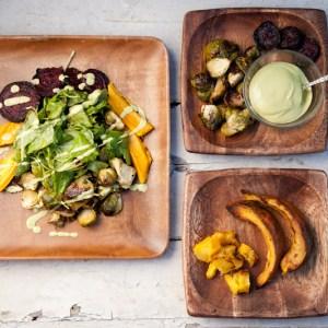 Roasted Vegetable Salad with Creamy Apple Cider Dressing