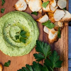 Green Goddess Parsley Hummus with Homemade Taro Chips