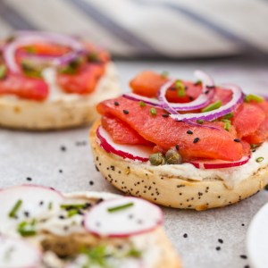 EASY Vegan NY Style Bagels with Tomato Lox   Tastes better than the real thing and so simple to make   Perfect healthy breakfast recipe