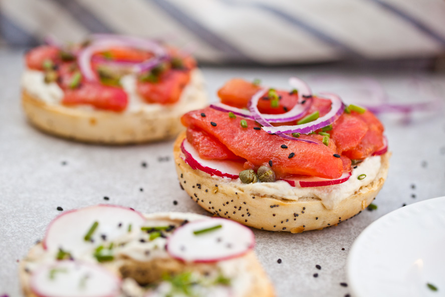 EASY Vegan NY Style Bagels with Tomato Lox | Tastes better than the real thing and so simple to make | Perfect healthy breakfast recipe