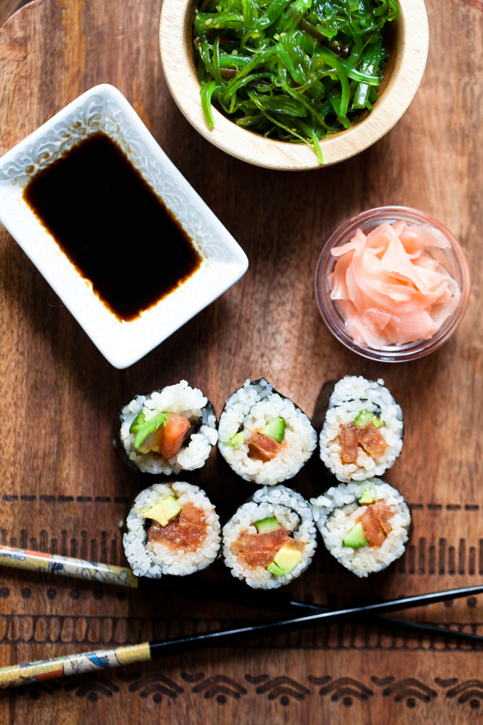 EASY Vegan Sushi with Tomato Spicy Tuna | Ready in 30 minutes for a healthy dinner recipe that's simple and fun!
