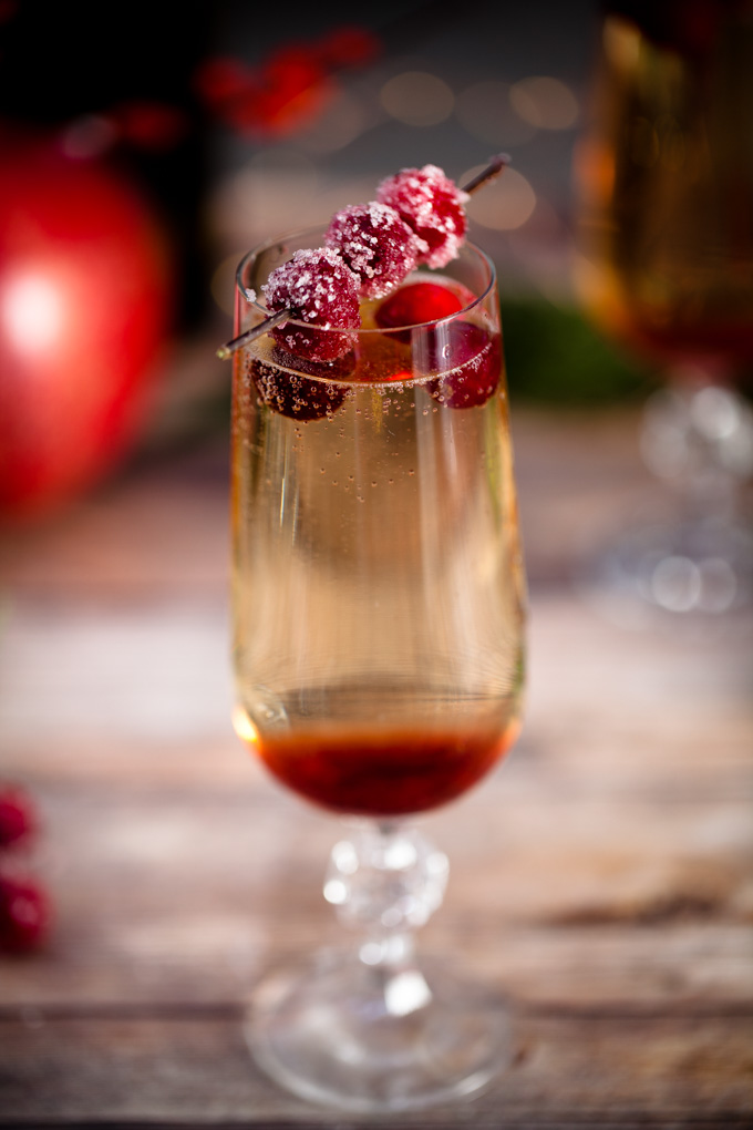 The ULTIMATE Holiday Party Cocktail   Candied Cranberry Pomegranate Prosecco Spritzers   Easy to make, delicious to drink   Champagne Cocktail Recipe