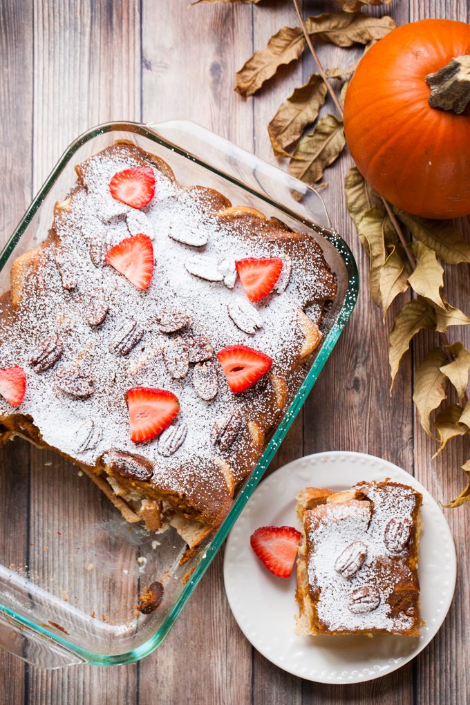 The ULTIMATE vegan brunch | Pumpkin Cream Cheese French Toast Bake the night before for a quick and easy breakfast
