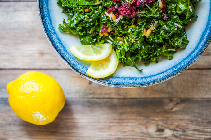 World's Best Kale Salad with Cranberries and Pine Nuts | Simple easy and so delicious | The perfect gluten-free picnic option or side dish recipe