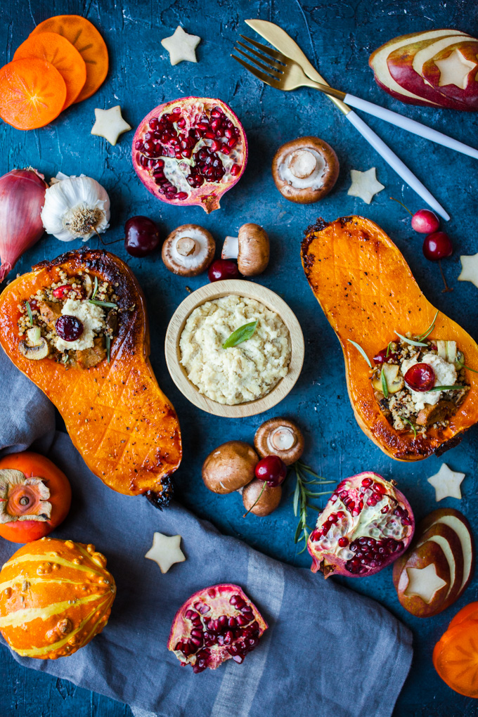 FESTIVE + Flavorful Roasted Butternut Squash stuffed with quinoa, vegan sausage, mushrooms, sage, and easy almond ricotta | The perfect side dish for your holiday dinner | Hearty enough to be a vegan main course