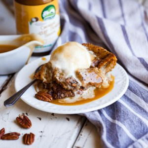 Vegan Butterscotch Bourbon Bread Pudding - SO easy, delicious, and indulgent! The perfect dairy-free Southern dessert. Perfect for brunch, holidays, and entertaining!