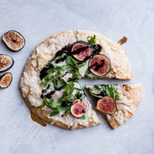Vegan Roasted Garlic Pizza with Arugula & Figs
