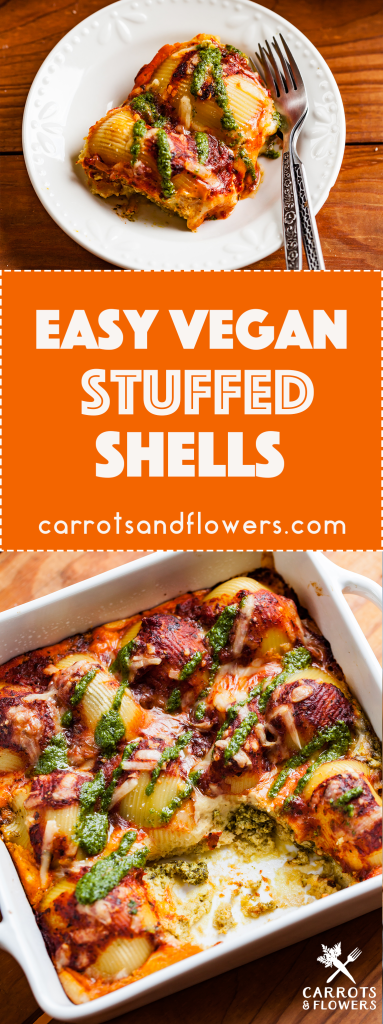 AMAZING Vegan Pesto Stuffed Shells. Easy plant-based pasta recipe perfect for a weeknight dinner. Only 10 ingredients + BIG flavor.