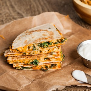 Hemp Cheese & Spinach Quesadillas