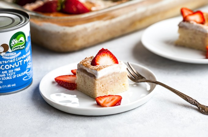 Unbelievable Vegan Tres Leches Cake   Fluffy, moist, perfectly sweet   Made with Nature's Charm sweetened condensed coconut milk   Plant-based Dessert Recipe