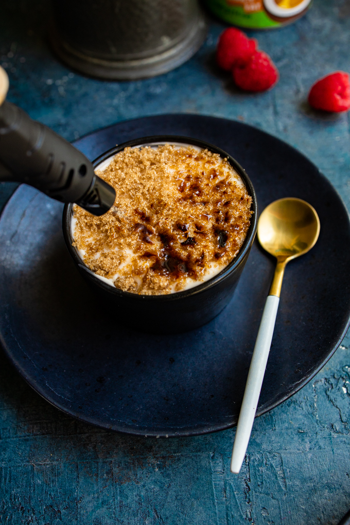 Easy vegan creme brulee made with just 3 ingredients | The perfect plant-based dessert recipe for entertaining or romantic dinners