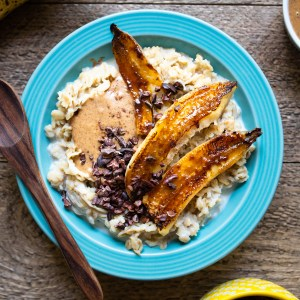 High-Performance Caramelized Banana Oatmeal | Vegan Plant-Based Breakfast | Topped with hemp, cacao nibs, and mixed nut butter