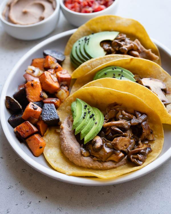 Vegan Mole Mushroom Tacos | Budget-friendly Plant-Based Recipe | Healthy Gluten-free Dinner