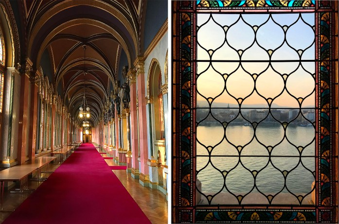 Budapest Parliament Hallway and window view of Danube